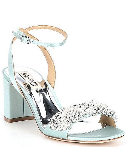 Badgley Mischka Clara Jewel Embellished Satin Dress Sandals