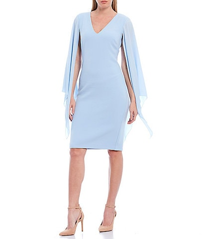 Badgley Mischka Combo Long Flutter Sleeve V-Neck Cocktail Dress