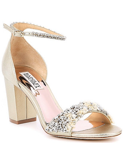 Badgley Mischka Finesse II Metallic Suede Block Heel Dress Sandals