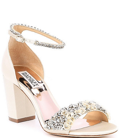 Badgley Mischka Finesse Satin Block Heel Dress Sandals