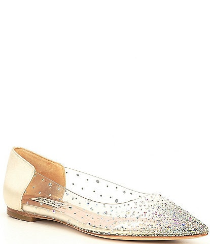 Badgley Mischka Gabi Satin Clear Embellished Flats
