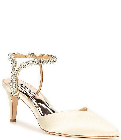 Badgley Mischka Galaxy Jeweled Satin Pumps