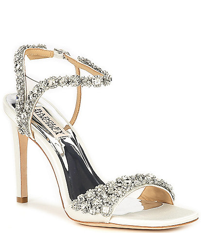Badgley Mischka Galia Square Toe Crystal Jeweled Satin Dress Sandals