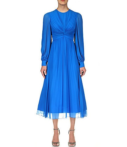Badgley Mischka Georgette Pleated Jewel Neck Long Sleeve Midi Dress