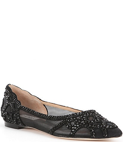 Badgley Mischka Gigi Rhinestone-Embellished Pointed-Toe Flats