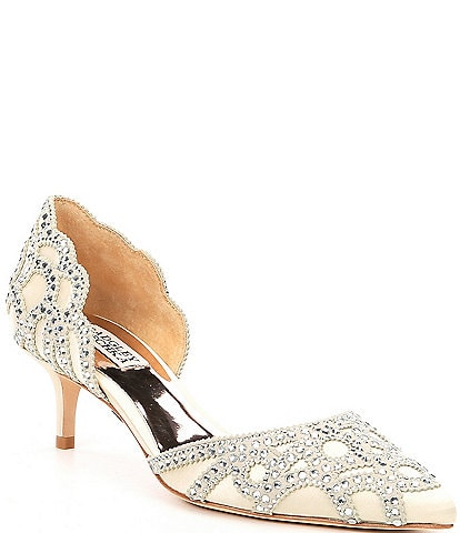 Badgley Mischka Ginny Satin And Suede Jeweled d'Orsay Pumps