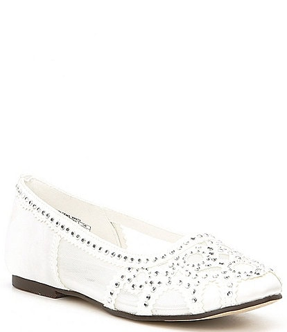 Badgley Mischka Girls' Gigi Gems Satin and Mesh Rhinestone Flats