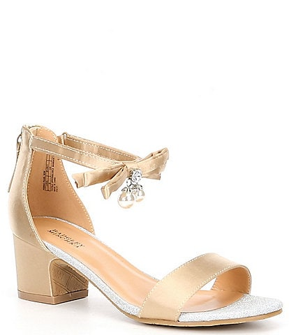 Badgley Mischka Girls' Pernia Satin Pearl Bow Block Heel Sandals