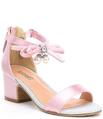 33ea6584304e Badgley Mischka Girls  Pernia Satin Pearl Bow Block Heel Sandals