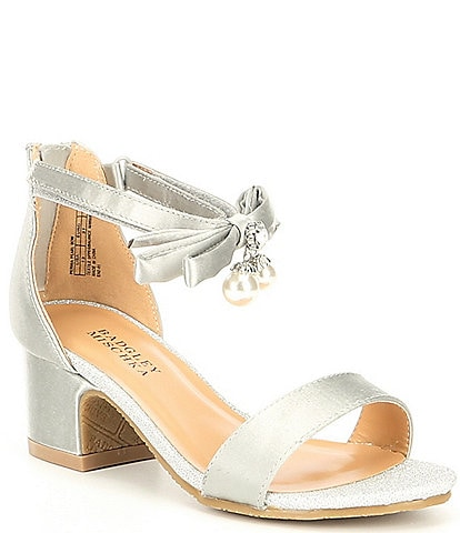 Badgley Mischka Girls' Pernia Satin Pearl Bow Block Heel Sandals Youth