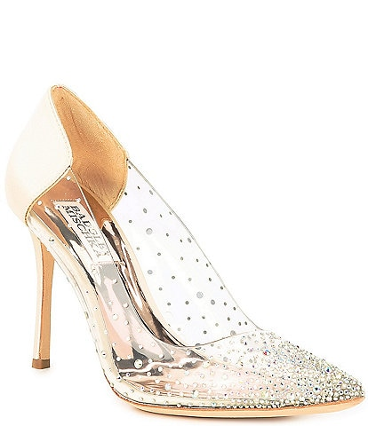 Badgley Mischka Gisela Embellished Clear and Satin Pumps