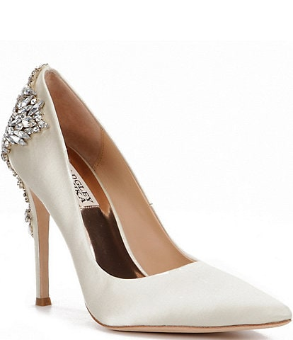 Badgley Mischka Gorgeous Satin Crystal-Embellished Pumps