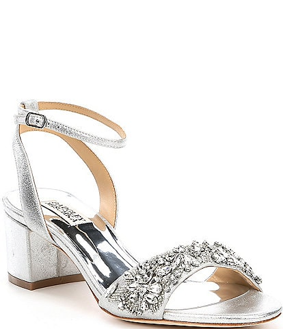 Badgley Mischka Ivanna Metallic Leather Block Heel Dress Sandals