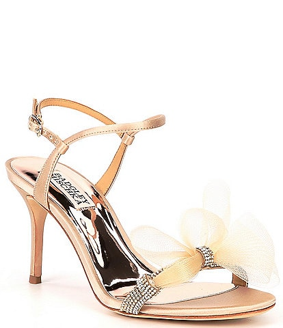 Badgley Mischka Janie Embellished Satin Tulle Bow Detail Dress Sandals