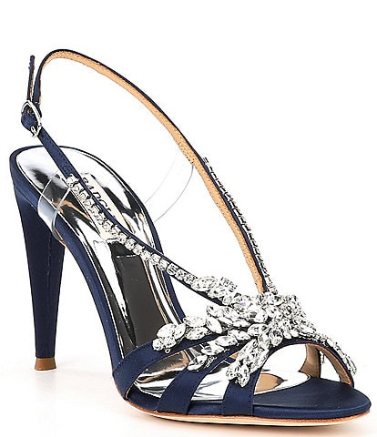 Badgley Mischka Jaqueline Satin Embellished Dress Sandals