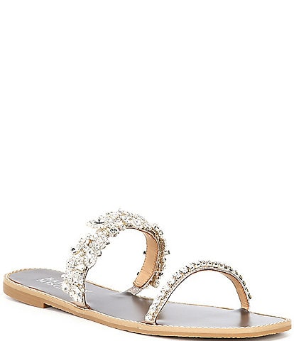 Badgley Mischka Jenelle Crystal Embellished Leather Jewel Sandals