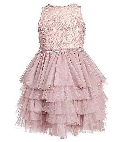 Badgley Mischka Little Girls 4-6X Beaded Illusion/Tutu Fit & Flare Dress