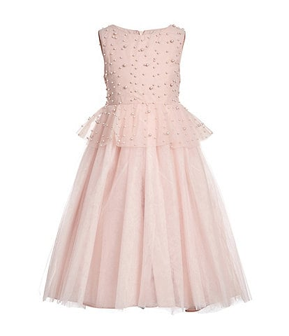 Badgley Mischka Little Girls 4-6X Faux-Pearl Peplum Maxi Dress