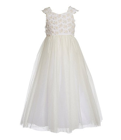 Badgley Mischka Little Girls 4-6X Floral/Tulle Fit & Flare Dress