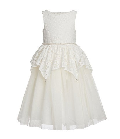 Badgley Mischka Little Girls 4-6X Jeweled Lace Peplum Fit & Flare Dress