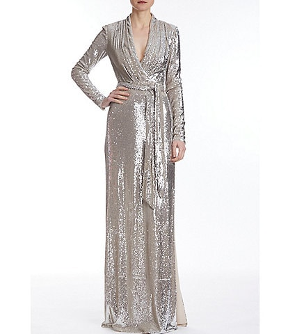Badgley Mischka Long Sleeve Sequin Wrap Gown