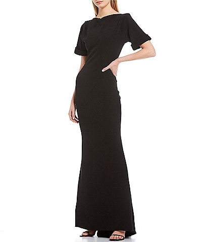 Badgley Mischka Low Scoop Back Stretch Crepe Dress