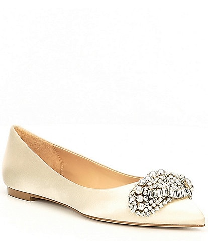 Badgley Mischka Octavia Satin Jeweled Dress Flats