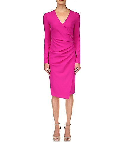 Badgley Mischka Odessa V-Neckline Long Sleeve Dress