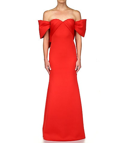 Badgley Mischka Off-The-Shoulder Bow Gown