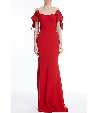 Badgley Mischka Off The Shoulder Crepe Gown