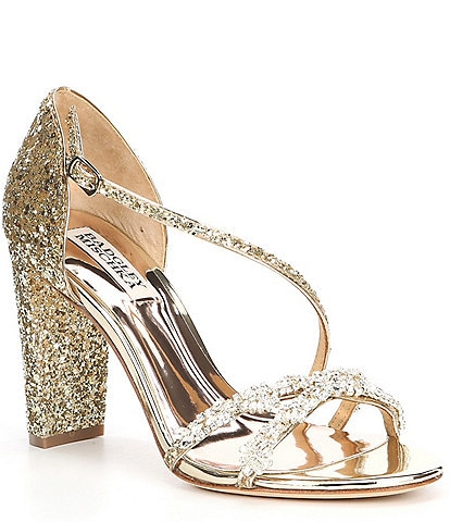 Badgley Mischka Omega II Glitter Jewel Embellished Block Heel Dress Sandals