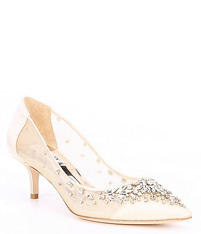 Badgley Mischka Onyx Satin Rhinestone Embellished Pumps