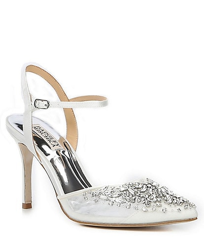 Badgley Mischka Opal Ankle Strap Jewel and Rhinestone Embellished Stiletto Heel Pumps