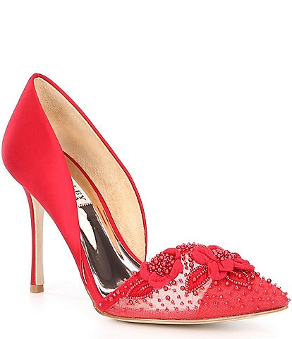 Badgley Mischka Ophelia Satin Pearl Flower d'Orsay Pumps