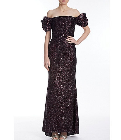Badgley Mischka Origami Sleeve Sequin Gown