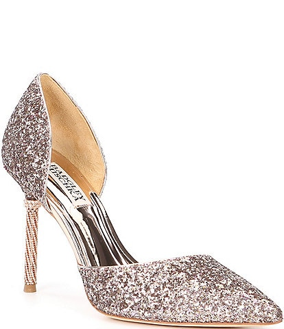 Badgley Mischka Ozara Glitter d'Orsay Stiletto Pumps