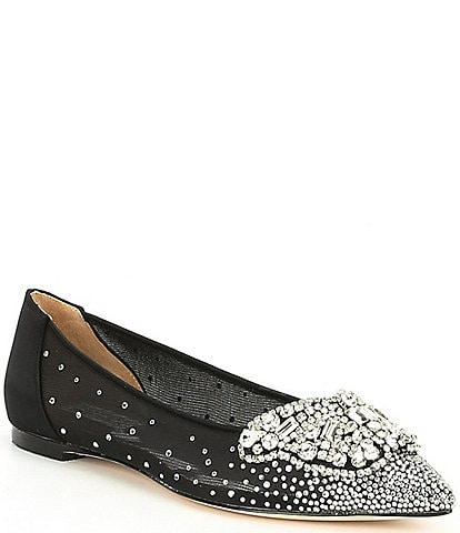 Badgley Mischka Quinn Satin Butterfly Toe Dress Flats