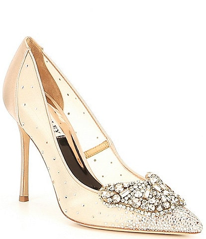 Badgley Mischka Quintana Satin Butterfly Toe Pumps