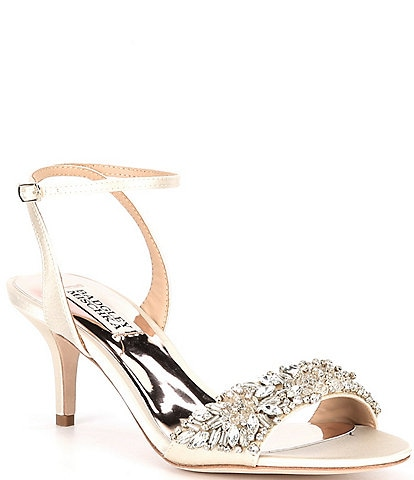 Badgley Mischka Richelle Satin Crystal Embellished Dress Sandals