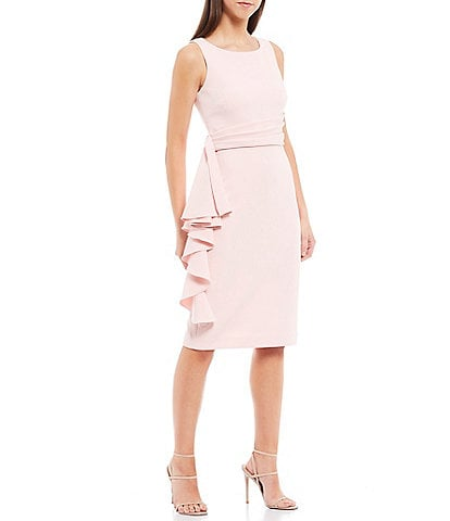Badgley Mischka Round Neck Side Ruffle Butter Crepe Dress