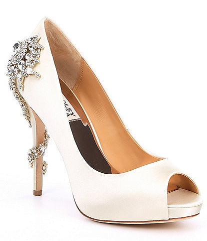 Badgley Mischka Royal Rhinestone-Embellished Satin Peep-Toe Pumps