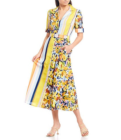 Badgley Mischka Stripe Floral Button Front Belted Midi Dress