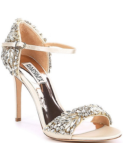 Badgley Mischka Tampa Jeweled Satin Dress Sandals