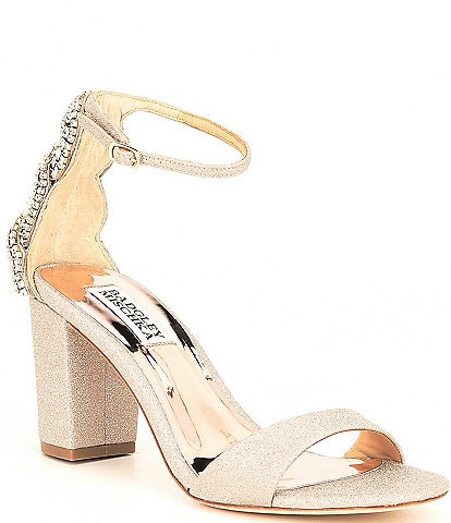 Badgley Mischka Zabella Glitter Fabric Dress Sandals