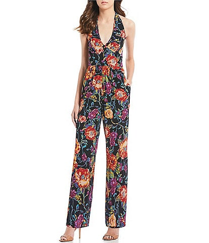 Band Of Gypsies Billy Floral Print Halter V-Neck Jumpsuit