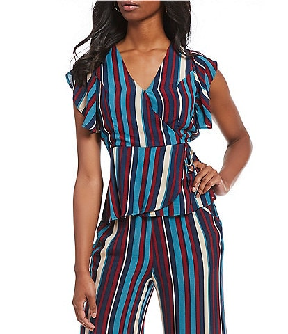 Band Of Gypsies Charmaine Striped Ruffle Statement Shoulder Wrap Top