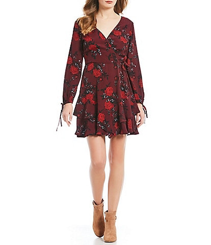 Band Of Gypsies Mariah Floral Print Wrap Dress