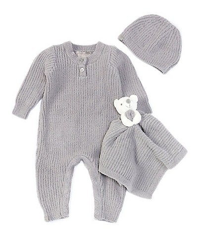 Barefoot Dreams Baby 3-12 Months CozyChic Ribbed Coverall, Beanie, and Bear Buddie 3-Piece Set