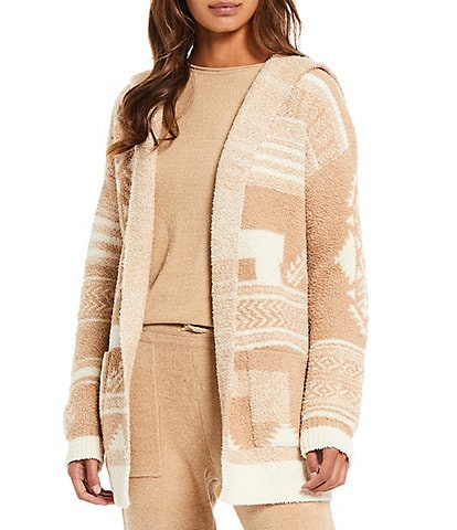 Barefoot Dreams Cozychic Aztec Belted Shawl Collar Lounge Cardigan