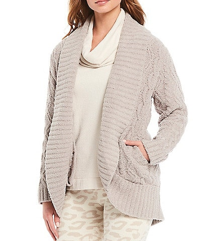 Barefoot Dreams CozyChic Cable Knit Shawl Collar Long Sleeve Cardigan
